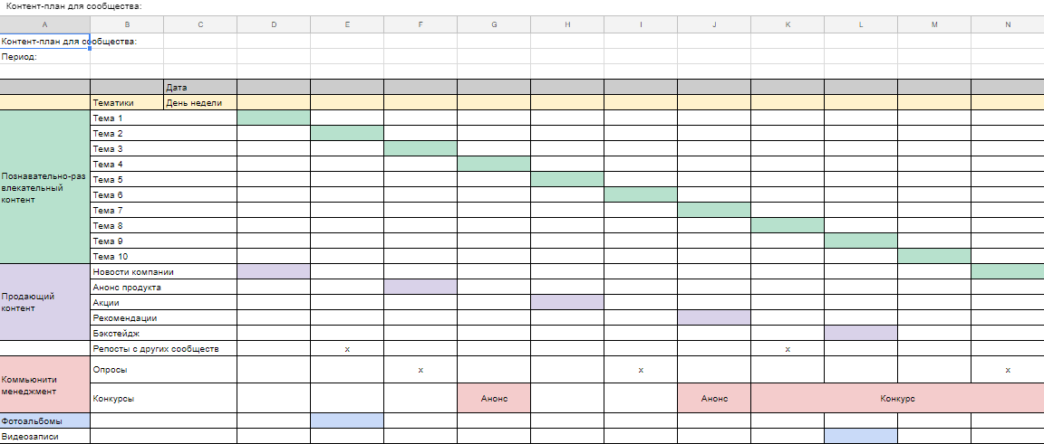 Шаблон контент плана